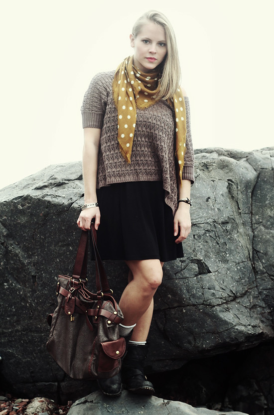 Sweater: Jeanne Pierre;  Scarf: Madewell;  Dress: Urban Outfitters;  Boots: Jeffrey Campbell;  Bag: Fossil