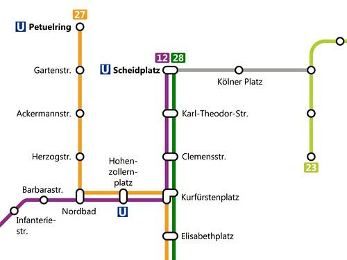 Netzplanausschnitt des neuen Trambahn-Nordnetzes