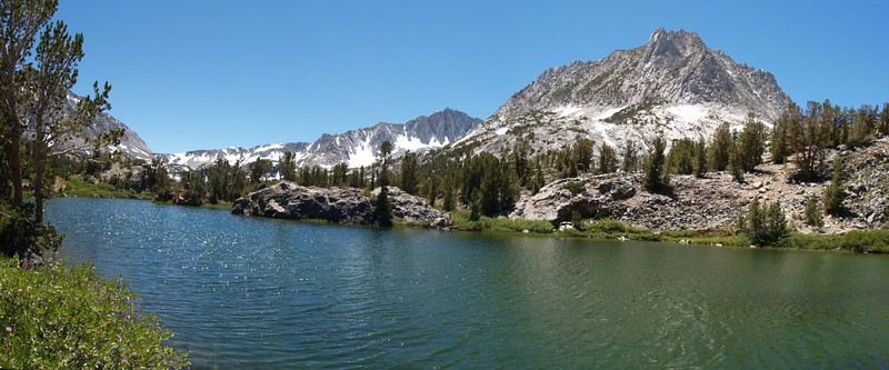 Long Lake panorama - Bishop Pass, Mount Goode, and Hurd Peak