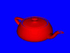 Gambar 34.8a Screenshot teapot berputar tanpa manipulasi warna