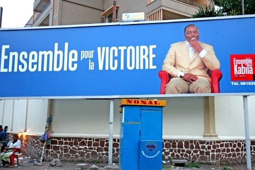 Democratic Republic of Congo President Joseph Kabila portrayed in a campaign billboard. The national elections were held in late 2011 resulting in the re-election of Kabila. by Pan-African News Wire File Photos