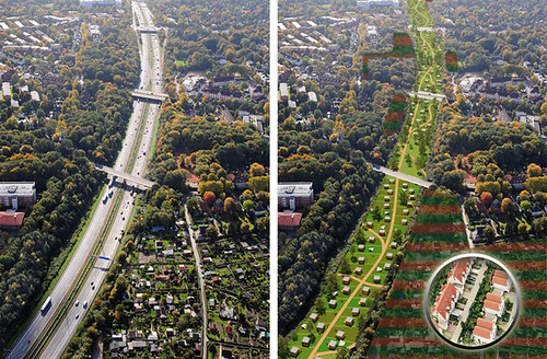Hamburg's A7 motorway before and after (courtesy of Inhabitat)