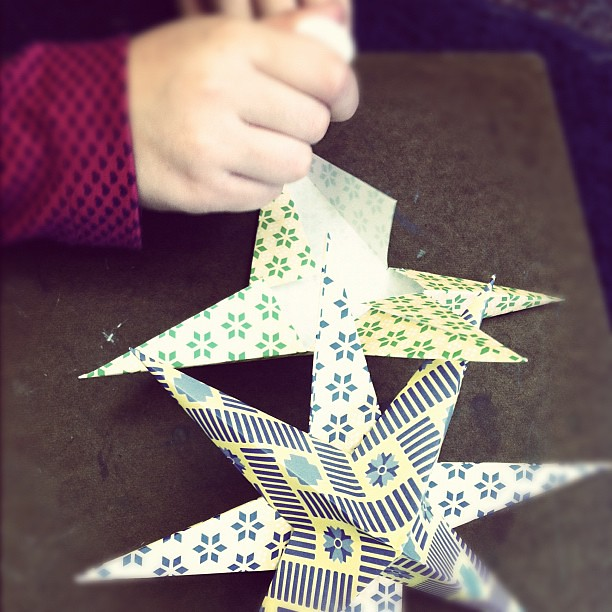 Making pAper stars in my daughter's classroom all morning. So fun!