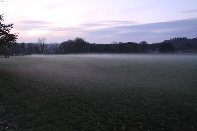 Autumn dusk mist