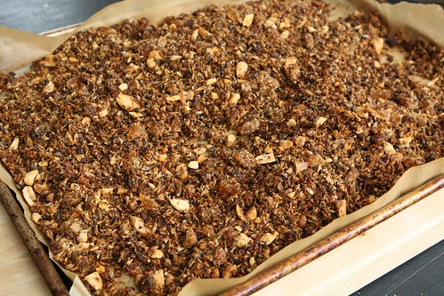 Spent Grain Granola with Coconut, Flax, Almond, Date, and Candied Ginger