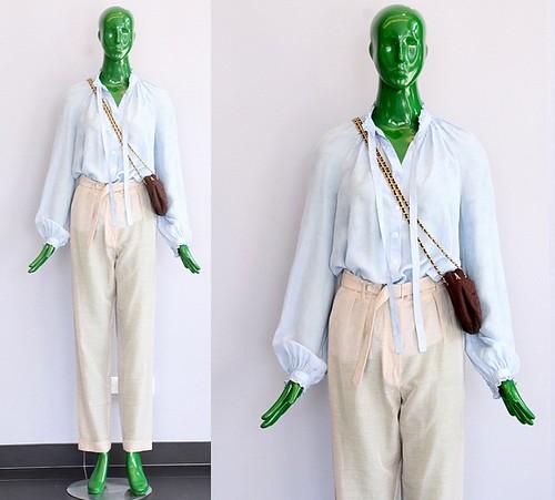 Zoa Taupe Silk Open Shoulder Tie Blouse 107
