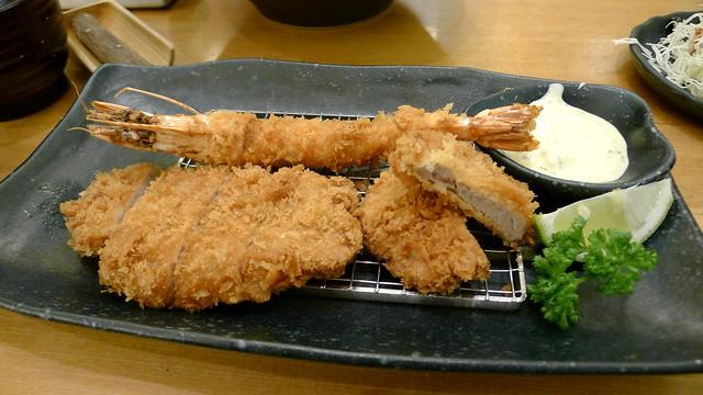 tonkatsu, layered katsu, tempura shrimp