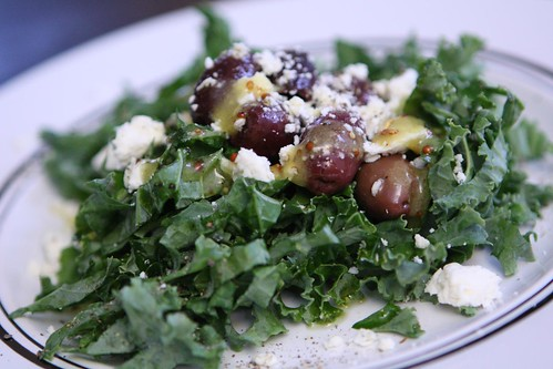 Kale Salad with Whole Grain Mustard Vinaigrette, Kalamata Olives, and Feta
