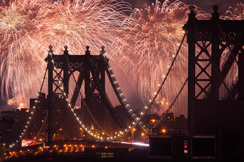fireworks over the manhattan bridge