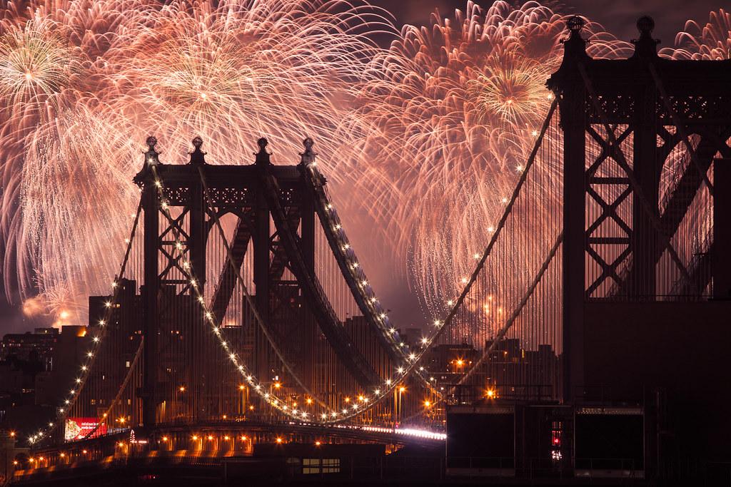 fireworks over the manhattan bridge
