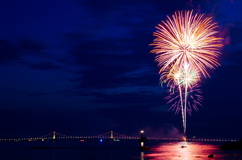Fireworks by the Bridge (Explored)