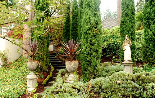 Estate entrance, with Italian details, stairs, trees, St Francis statue, Llandover by the Sound,  North Seattle, Washington, USA by Wonderlane