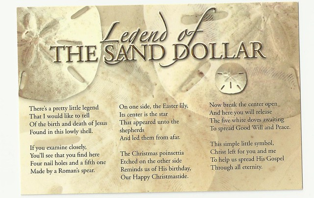 Postcard scan the legend of the sand dollar postcard by ashbear4