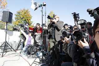 Photo of a large group of press cameramen and women