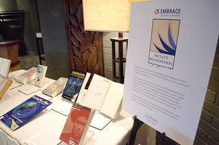 image of books on display at previous Faculty Recognition program