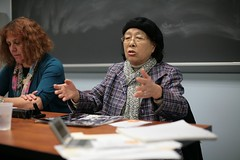 Nuclear Weapons Abolition workshop: Junko Kayashige (right), a Hiroshima Hibakusha (A-Bomb Survivor) and Jackie Cabasso of the Western States Legal Foundation.