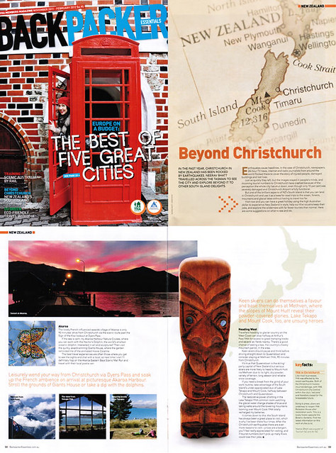 "my article ""New Zealand South Island - Beyond Christchurch"" - YHA Backpacker Essentials Magazine November 2011"
