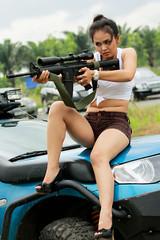 [フリー画像素材] 人物, 女性 - アジア, ベトナム人, 小銃・ライフル ID:201202251400
