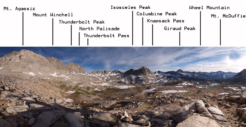 Dusy Basin annotated panorama