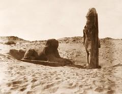 Séboûah - temple - colosse et sphinx de la partie gauche de l'avenue, 1851-2, by Félix Teynard