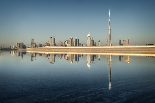 morning blue sunlight water reflections dubai silent uae middleeast reflected unitedarabemirates tranquil burjdubai d300s theaddresshotel catalinmarin momentaryawecom burjkhalifa