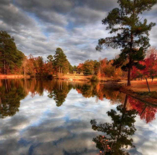 Meme's Home and Lake In Georgia Autumn