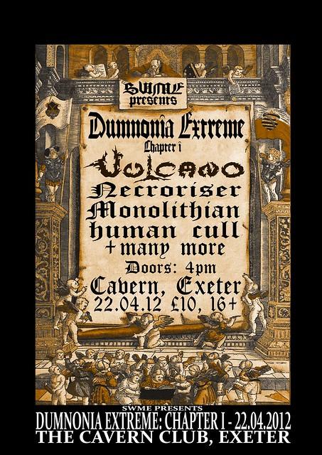 Dumnomia Extreme Vulcano Desecration Monolithian Necroriser Human Cull gig listings exeter cavern www.metalgigs.co.uk gig listings
