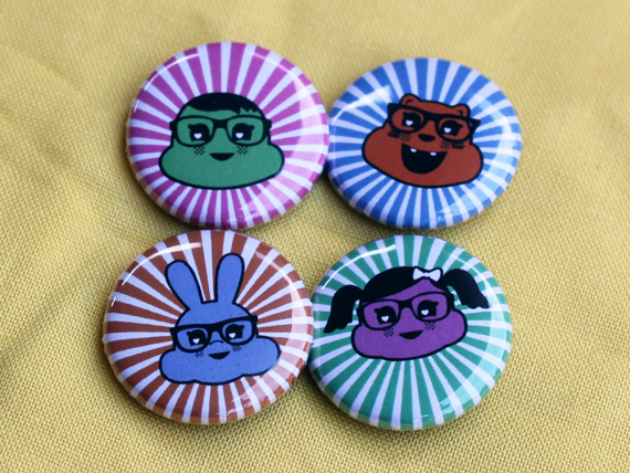 Happy Glasses Friends - Button badge set