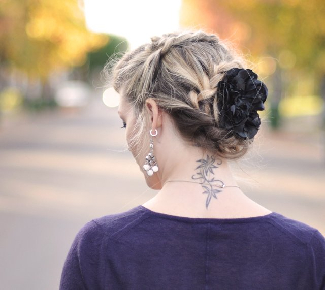 zig zag french braid - braids-hair-neck tattoo