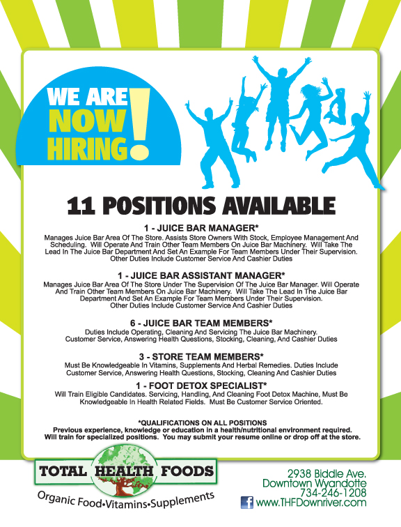Now Hiring Flyer For Total Health Foods Flickr Photo