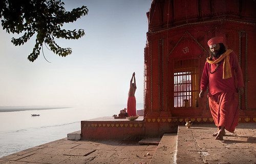 A Brahmin from Karnatka, doing his morning prayers at Benares. by Harry Fisch