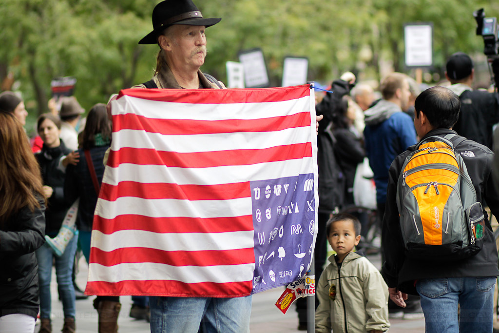 occupy seattle - corporate america flag