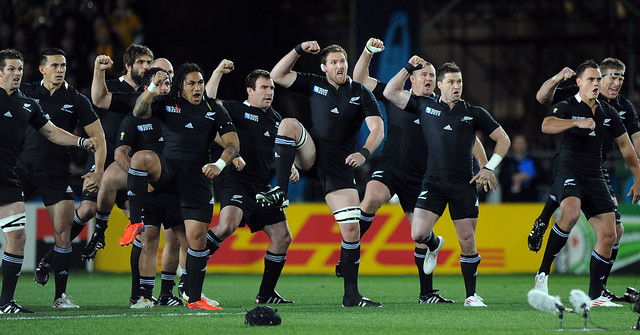 The All Blacks perform the Haka 16/10/2011