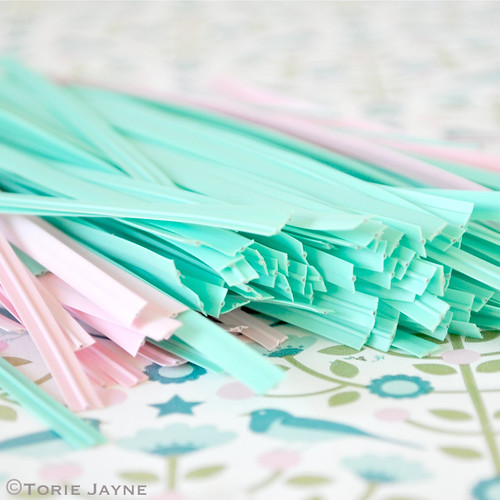 Mint & pink twist ties