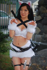 fetish model(1.0), black hair(1.0), clothing(1.0), lady(1.0), costume(1.0), person(1.0), cosplay(1.0),