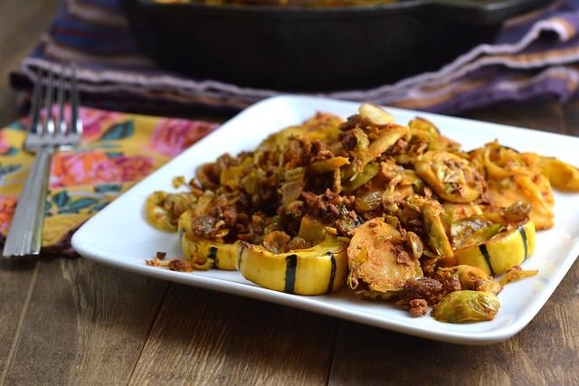 vegetarian, vegan, soy chorizo, brussels sprouts, raisins, almonds, dairy-free, gluten-free