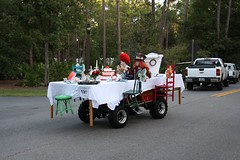 Alice in Wonderland table Golf Cart in the Parade