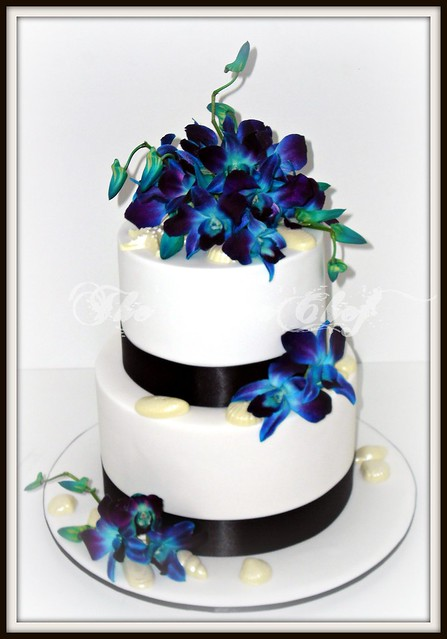 Blue Orchids Sea Shells A simple white wedding cake with black satin