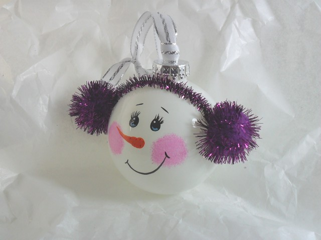 Purple With Butterflies Glass Ornament - Christmas ornaments