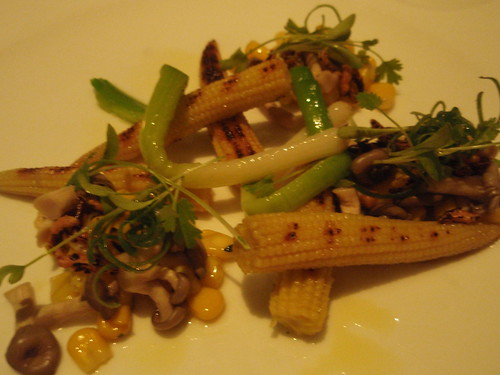 Baby Corn, Leeks and Mushroom Salad