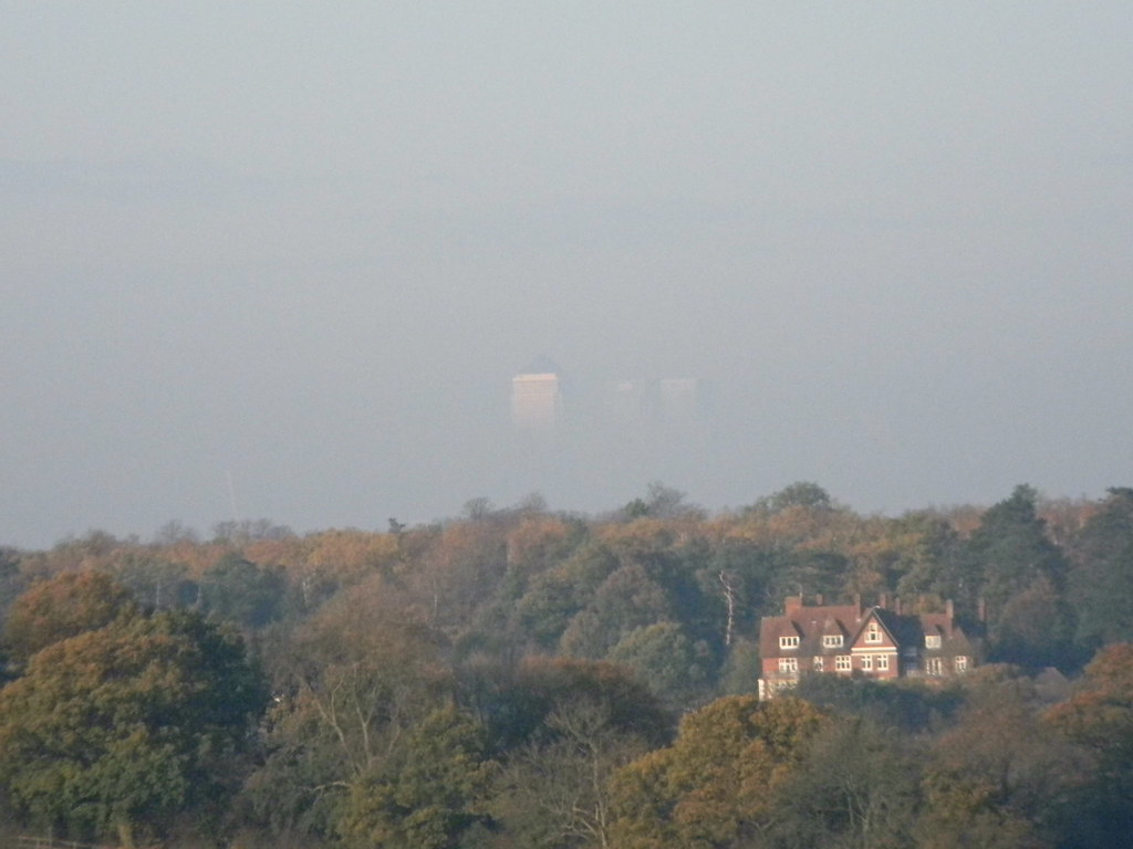 Floating Towers Canary Wharf floats above the Croydon tree-line. New Addington to Hayes