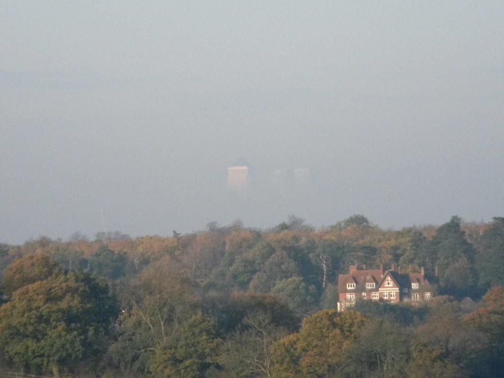 Floating Towers Canary Wharf floats above the Croydon tree-line. New Addington to Hayes