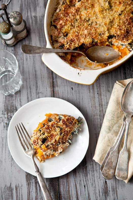 Winter Greens & Squash Gratin
