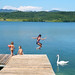 The pleasure of jumping at the Velenjska lake