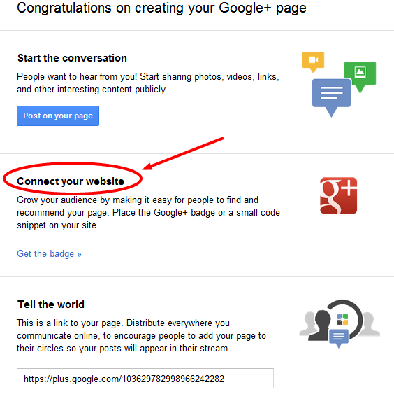 connect your website to google+