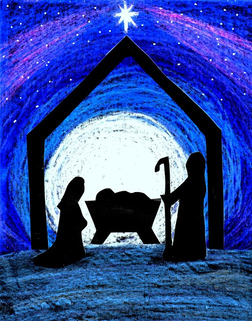 simple cut out silhouetted nativity scene against the backdrop of a ...