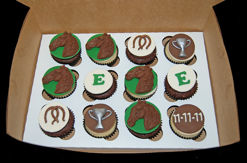 horse race themed cupcakes for a retirement party