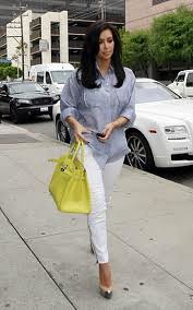 Kim Kardashian Neon Handbag Celebrity Style Fashion