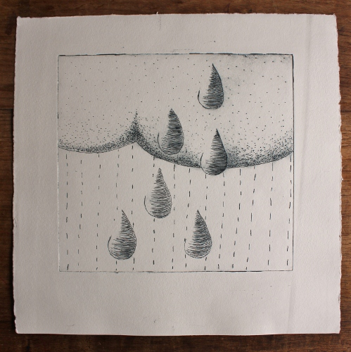 rain cloud light - paynes grey ink (26x26cm)