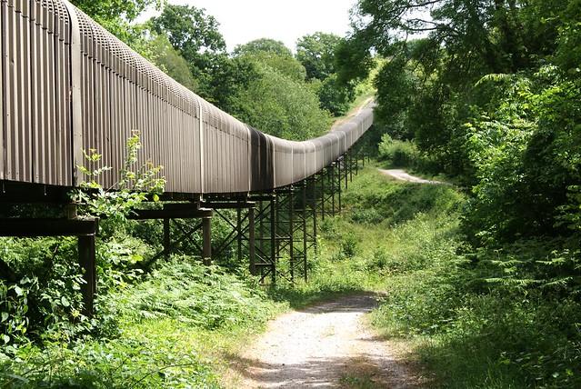 Brightling-Mountfield conveyor British Gypsum  looking east toward the Twelve Oaks-Mountfield road far distance 24.5.11.